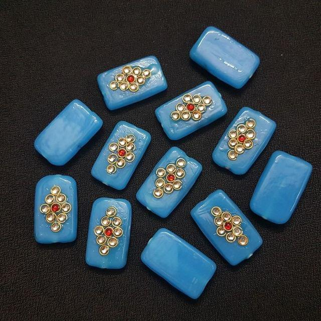 Sky Blue, Rectangle Kundan Beads 25 x 15mm, 20 Pieces