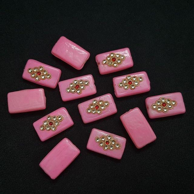 Light Pink , Rectangle Kundan Beads 25 x 15mm, 20 Pieces