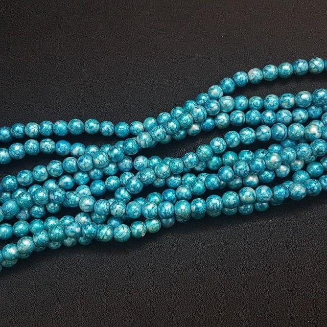 5 Lines, 8 mm Sky Blue Color Glass Beads For Jewellery Making/ 16 Inch/ 52+ Beads in Each String