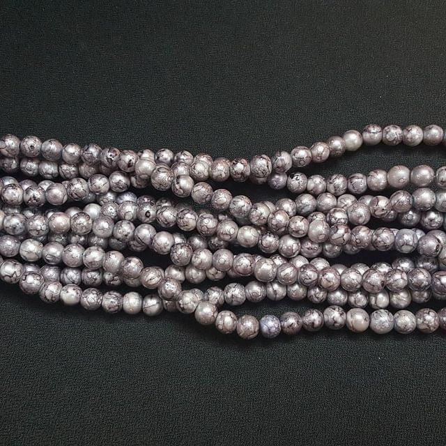 5 Lines, 8 mm Grey Color Glass Beads For Jewellery Making/ 16 Inch/ 52+ Beads in Each String