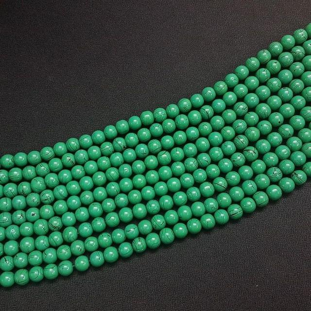 5 Lines, 8 mm Green Color Glass Beads For Jewellery Making/ 16 Inch/ 48+ Beads in Each String