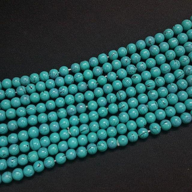5 Lines, 8 mm Turquoise Color Glass Beads For Jewellery Making/ 16 Inch/ 52+ Beads in Each String