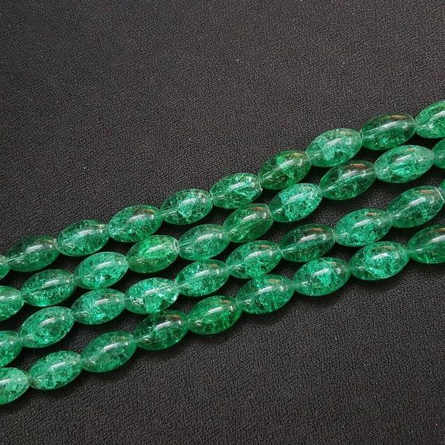 4 Lines, 16x10 mm Green Color Glass Beads For Jewellery Making/ 15 Inch/ 22+ Beads in Each String