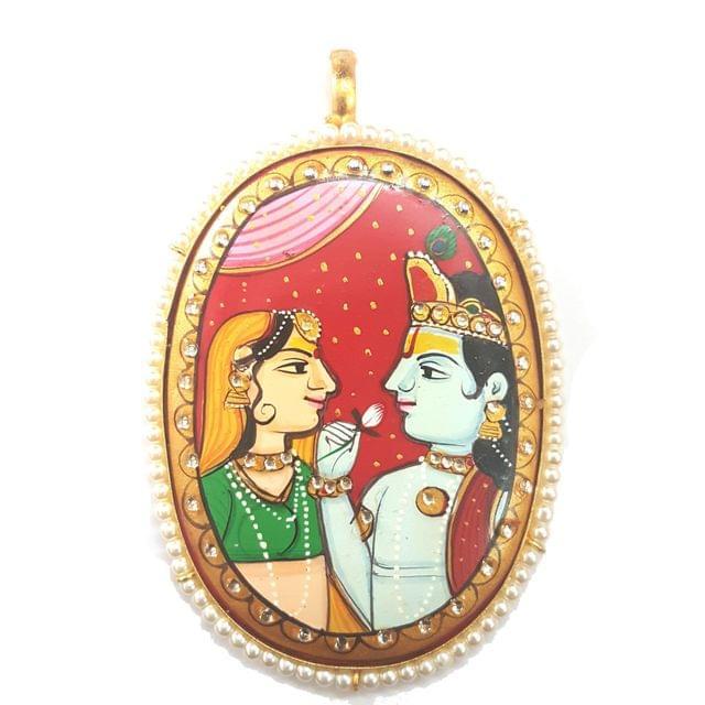 Red Radha Krishna Pendant 80 x 60mm