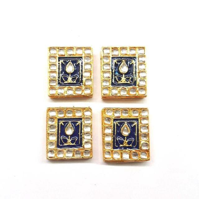 Dark Blue, Kundan Meena Chowki 23 x 25 mm, 4 pendant