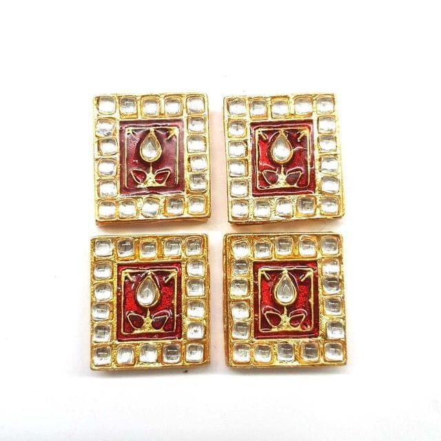 Red, Kundan Meena Chowki 23 x 25 mm, 4 pendant