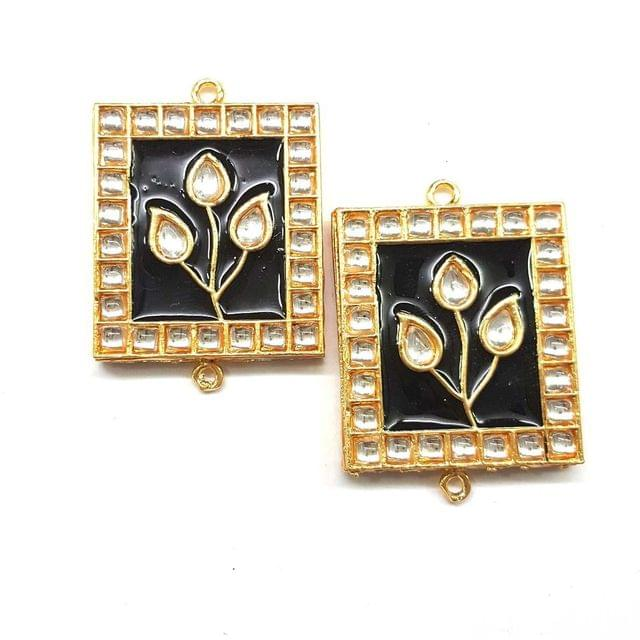 Black, Kundan Meena Chowki 35 x 40 mm, 2 pendant