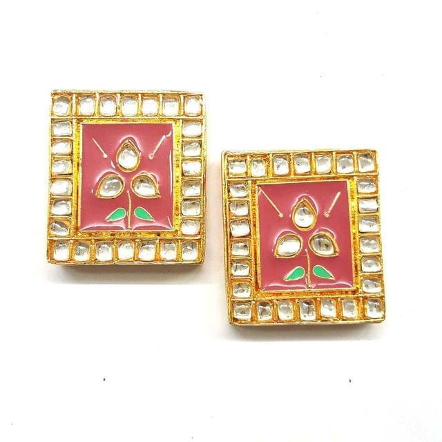 Baby Pink, Kundan Meena Chowki 35 x 40 mm, 2 pendant