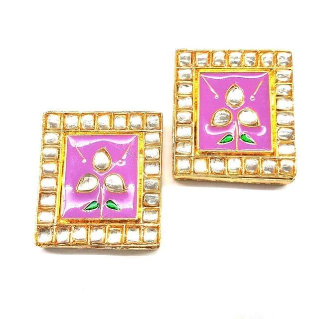 Purple, Kundan Meena Chowki 35 x 40 mm, 2 pendant