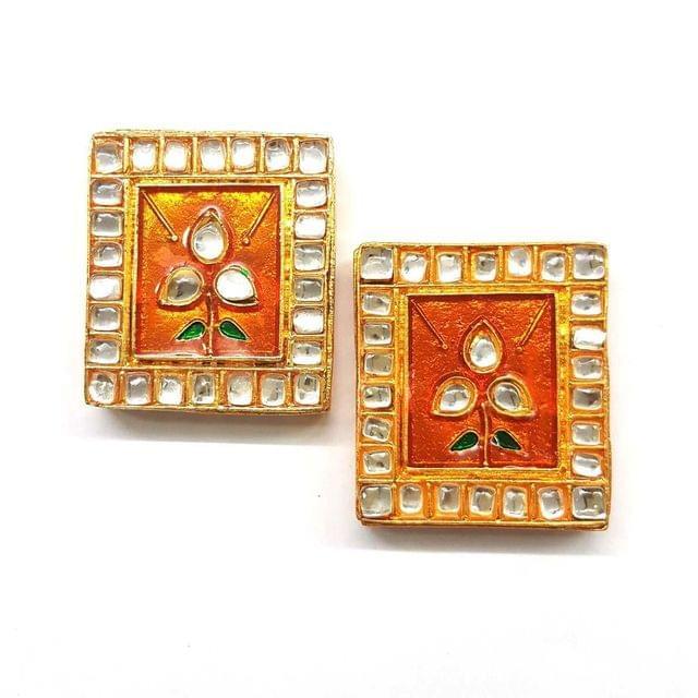 Orange, Kundan Meena Chowki 35 x 40 mm, 2 pendant