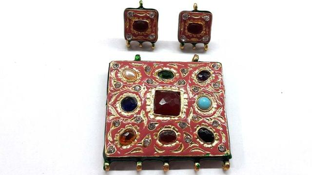 Traditional Light Pink Navratna Square Pendant With Combo Earring, Pendant- 2 inch, Earring- 1 inch