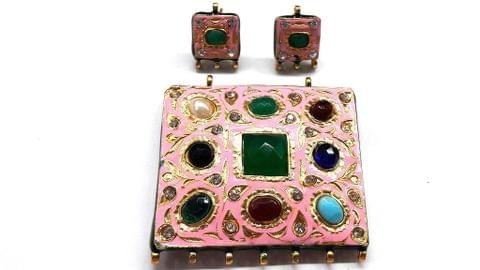 Traditional Baby Pink Navratna Square Pendant With Combo Earring, Pendant- 2.25 inch, Earring- 1 inch