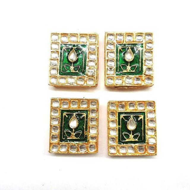 Green, Kundan Meena Chowki 23 x 25 mm, 4 pendant