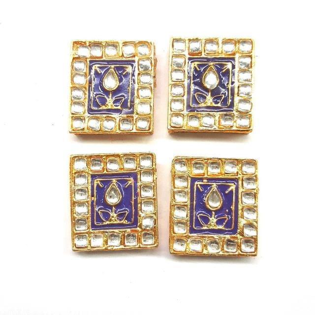 Purple, Kundan Meena Chowki 23 x 25 mm, 4 pendant