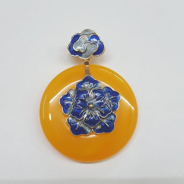 Yellow Colored Round Pendant With Blue Flower Design
