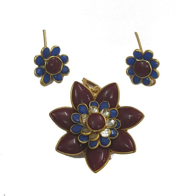 Maroon Blue, Pacchi Pendant With Combo Earring