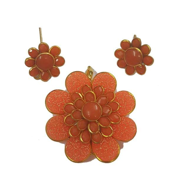 Orange Color, Pacchi Pendant With Combo Earring