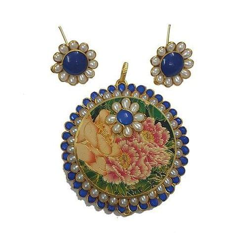 Moti Blue, Royal Pacchi Pendant With Combo Earring