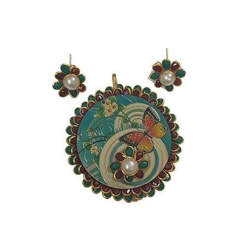 Maroon, Royal Pacchi Pendant With Combo Earring