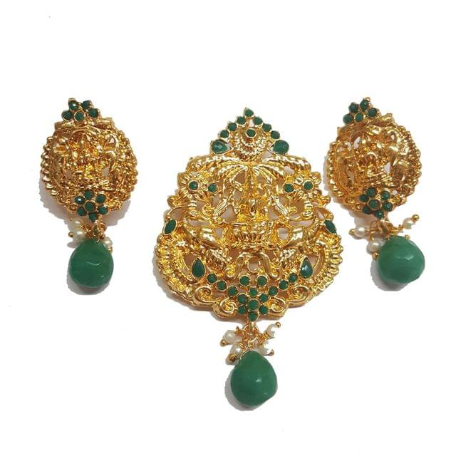 Traditional Temple Pendant With Earring, Pendant- 3 inch, Earring- 1.75 inch