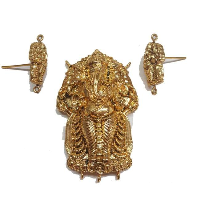 Traditional Temple Pendant With Earring, Pendant- 2.75 inch, Earring- 1.25 inch