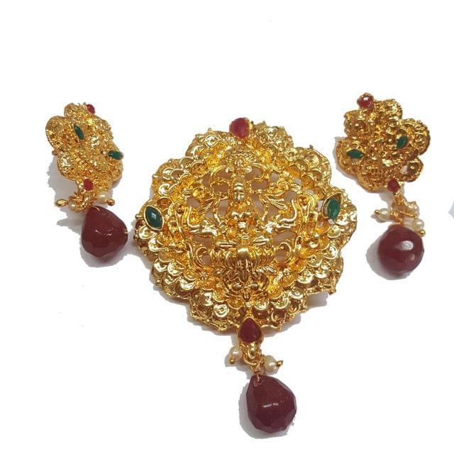 Red, Traditional Temple Pendant With Earring, Pendant- 3 inch, Earring- 1.75 inch