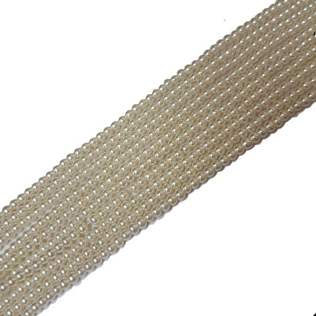 3mm, Cream Glass Pearl String For Jewellery Making, 233+ Beads In Each Line, 5 Lines