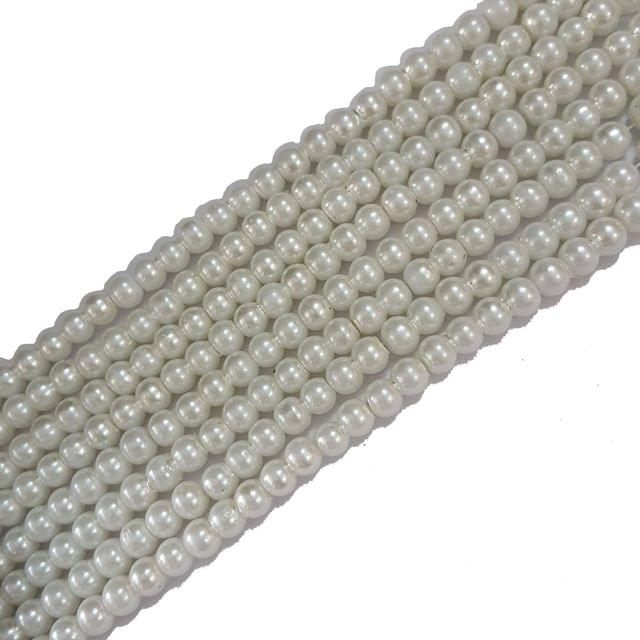 6mm, Glass Pearl String For Jewellery Making, 143+ Beads In Each Line , 5 Lines