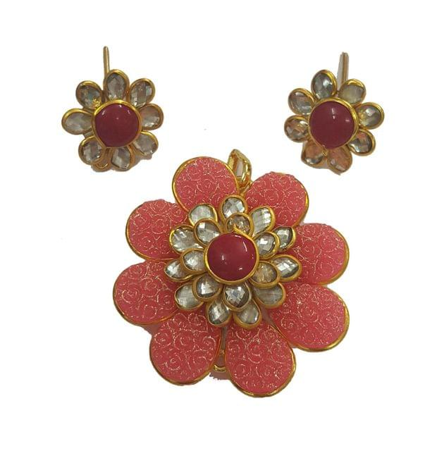 Pink White Red, Pacchi Pendant With Combo Earring