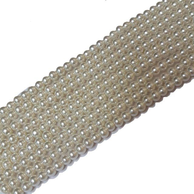 4mm, Cream Glass Pearl String For Jewellery Making, 225+ Beads In Each Line , 5 Lines