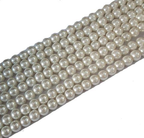 8mm, Glass Pearl String For Jewellery Making, 107+ beads in each line , 5 Lines