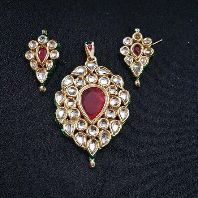 Traditional Drop Shape Kundan Pendant With Combo Earring, Pendant- 2.75 inch, Earring- 1.5 inch