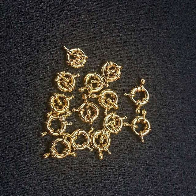 10 Pcs. AAA Quality Golden Spring Ring Clasp (with two kadi) As Shown in Picture