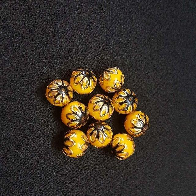 20 pcs, Yellow Black Color Meenakari Beads, 12mm