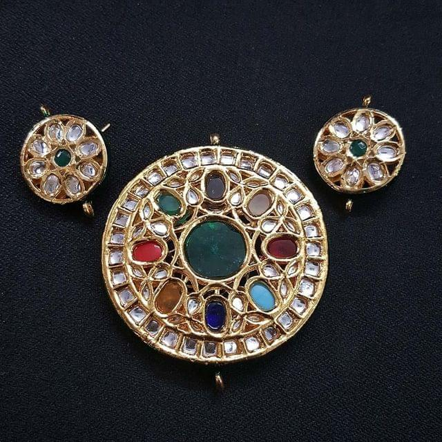 Traditional Round Shape Kundan Pendant With Combo Earring, Pendant- 2.75 inch, Earring- 1.5 inch