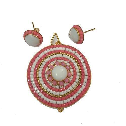 Pink White, Takkar Pendant With Combo Earring