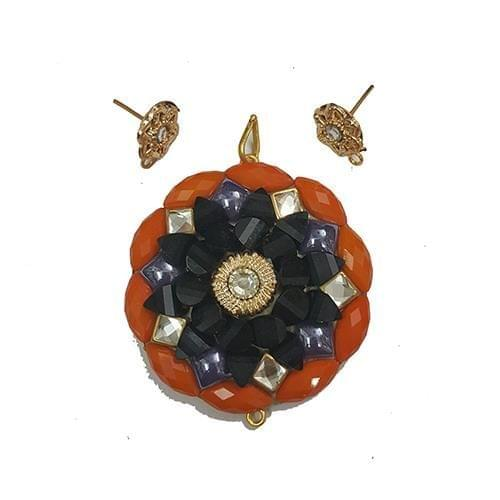 Orange Purple, Takkar Pendant With Combo Earring