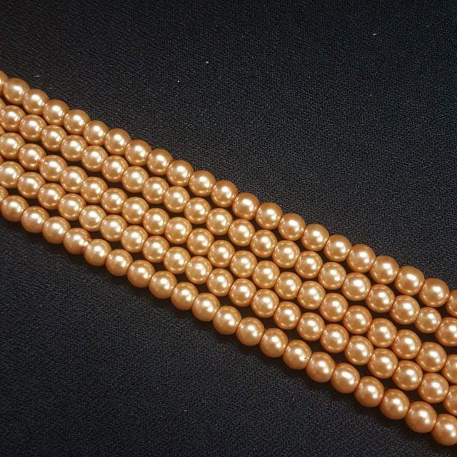 5 Lines, 6mm Glass Beads For Jewellery Making/ 16 Inch/ 70+ Beads in Each String
