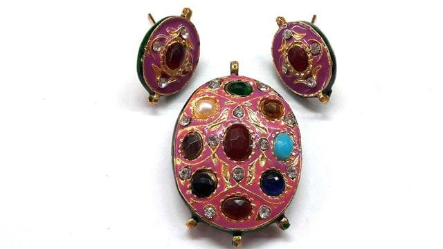Traditional Pink Navratna Oval Pendant With Combo Earring, Pendant- 2 inch, Earring- 1 inch
