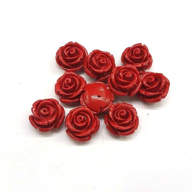 Red, Acrylic Flower 16mm, 20 Pieces