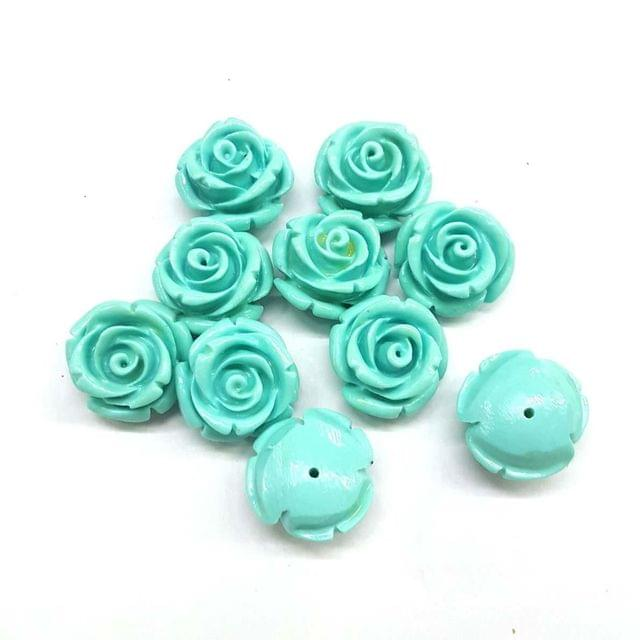 Turquoise, Acrylic Flower 16mm, 20 Pieces