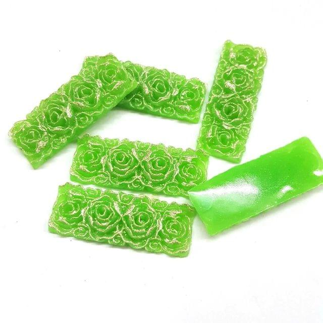 Parrot Green, Acrylic Rectangle13 x 36 mm, 50 Pieces