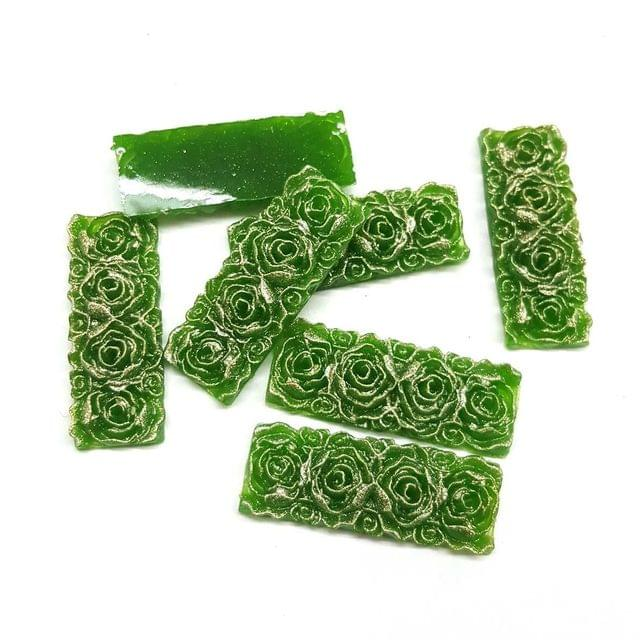 Green, Acrylic Rectangle13 x 36 mm, 50 Pieces