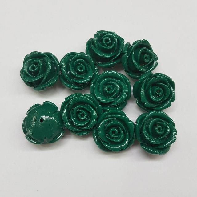 10 pcs Green, Acrylic Flower 18mm