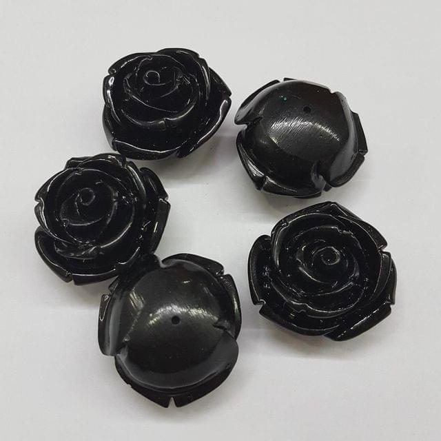 5 pcs Black, Acrylic Flower 28mm
