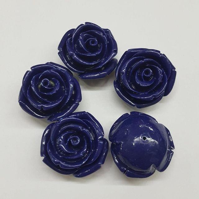 5 pcs Dark Blue, Acrylic Flower 28mm