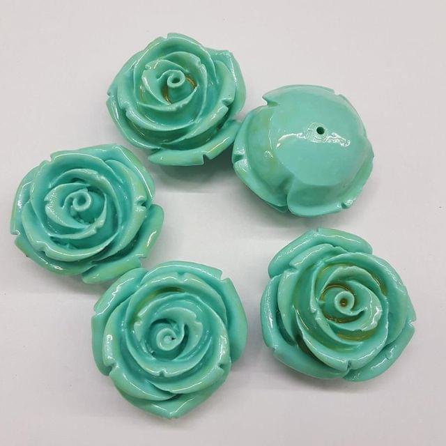 5 pcs Turquoise, Acrylic Flower 28mm