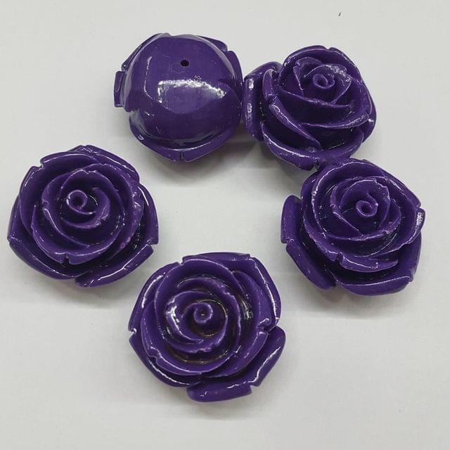 5 pcs Purple, Acrylic Flower 28mm