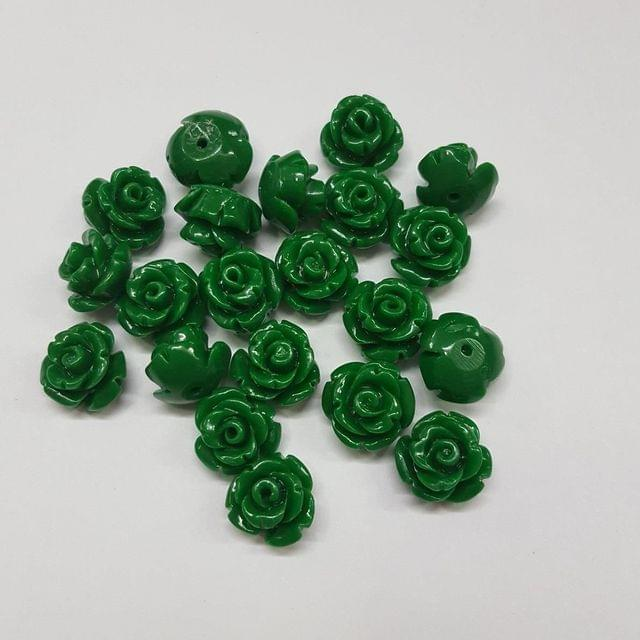 Green, Acrylic Flower 10mm, 50 Pieces