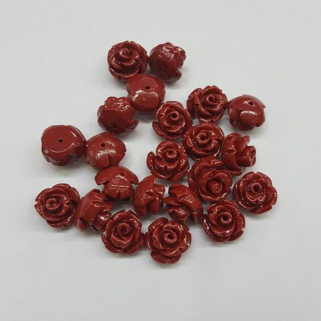 Maroon, Acrylic Flower 10mm, 50 Pieces